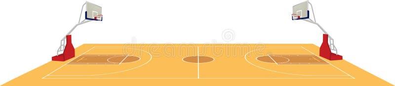 Cancha de básquet, vista lateral ilustración del vector
