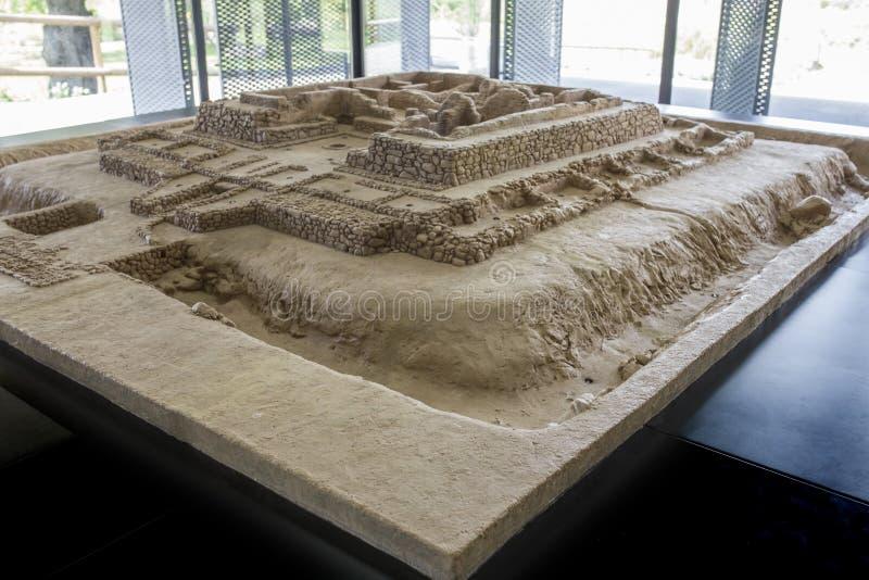 Cancho Roano考古学站点,西班牙比例模型  免版税图库摄影