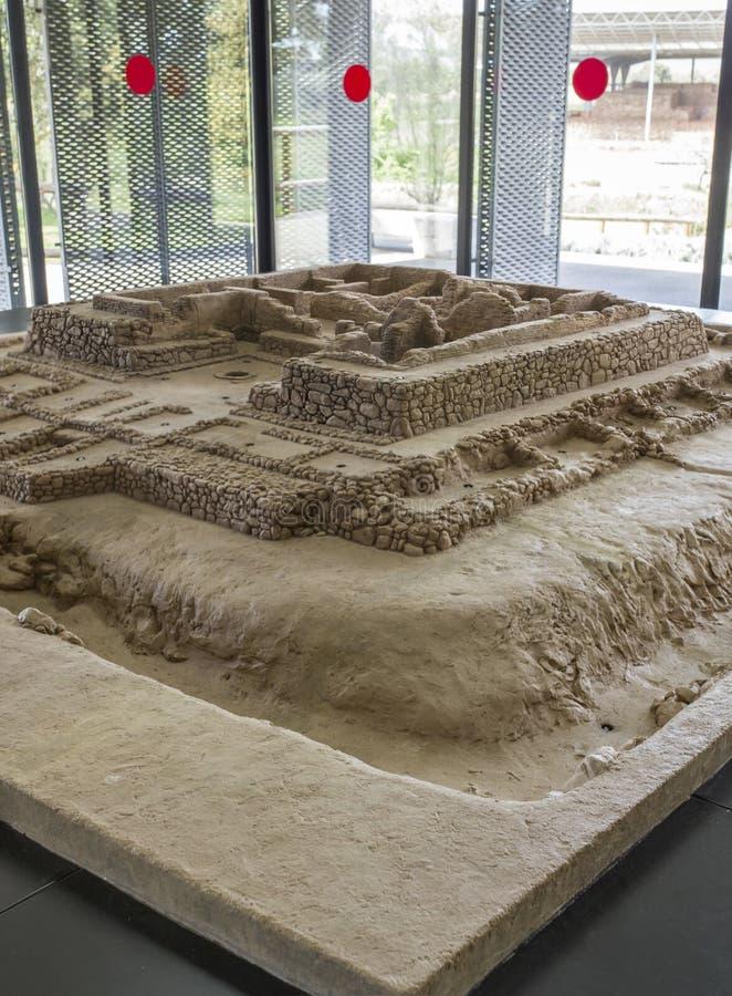 Cancho Roano考古学站点,西班牙比例模型  库存照片