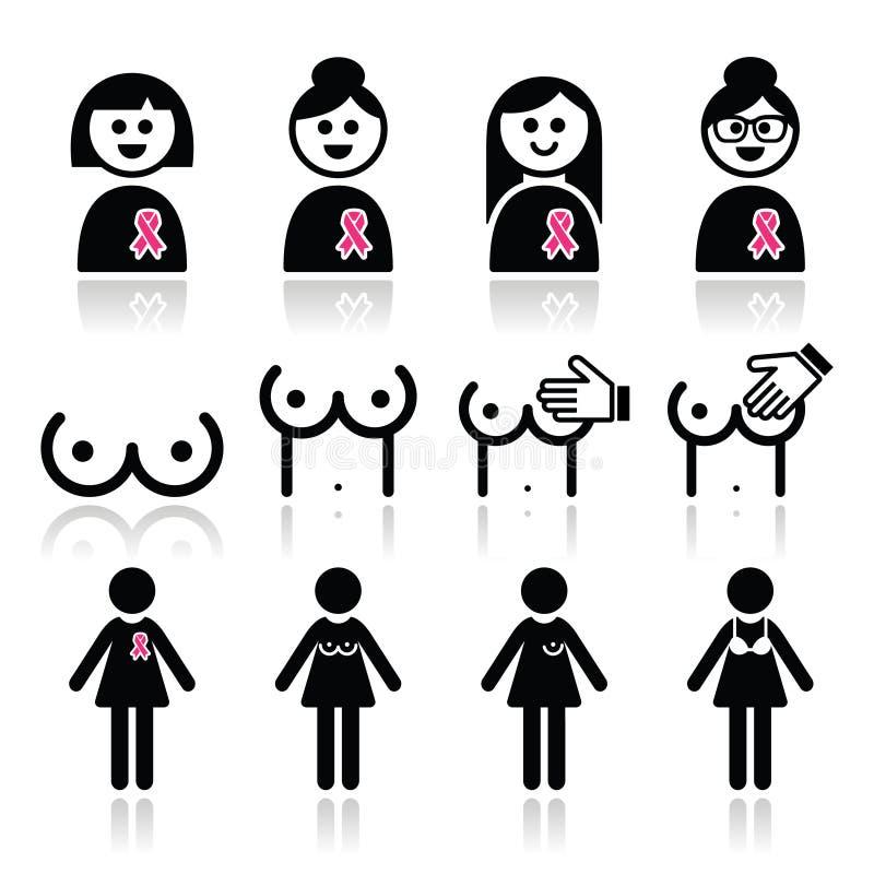 Cancro al seno, donna con le icone rosa del nastro messe illustrazione di stock