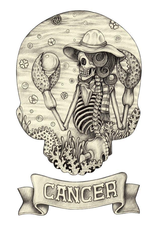 Cancro del cranio dello zodiaco Disegno della mano sul documento royalty illustrazione gratis