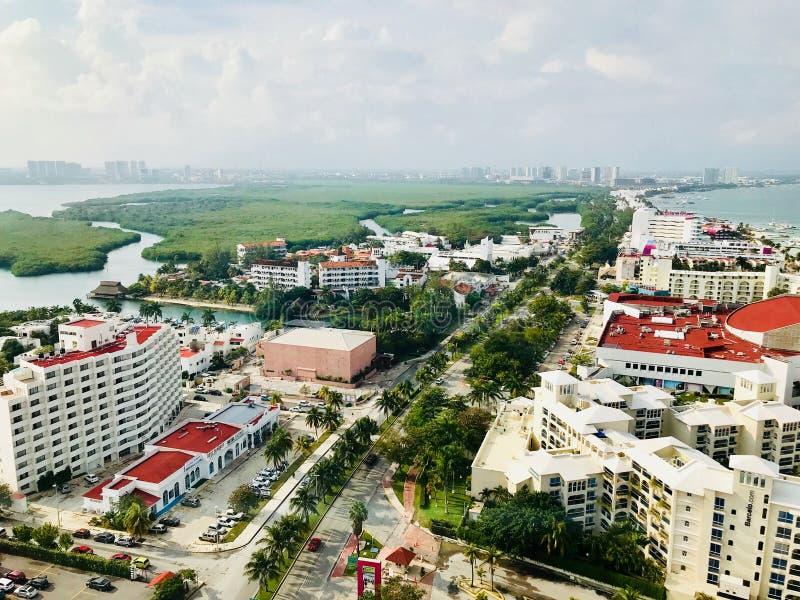 Cancun, ландшафт Quintana Roo мексиканський от башни Xcaret стоковая фотография