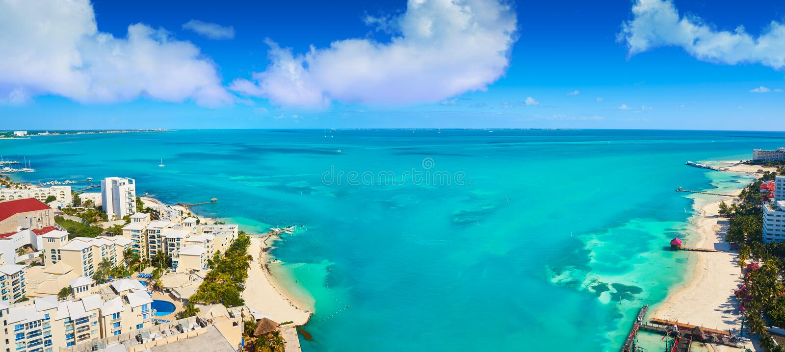 Cancun aerial view Hotel Zone of Mexico. Cancun aerial view of Hotel Zone in Playa Linda at Mexico stock image
