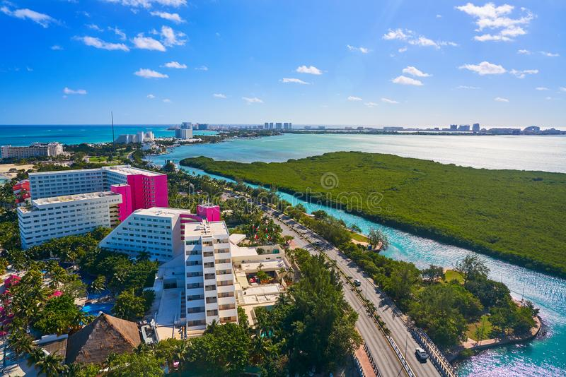 Cancun aerial view Hotel Zone of Mexico. Cancun aerial view of Hotel Zone in Playa Linda at Mexico royalty free stock photography
