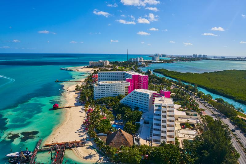 Cancun aerial view Hotel Zone of Mexico. Cancun aerial view of Hotel Zone in Playa Linda at Mexico royalty free stock photo