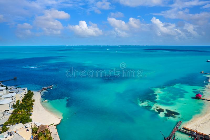 Cancun aerial view Hotel Zone of Mexico. Cancun aerial view of Hotel Zone in Playa Linda at Mexico stock photos