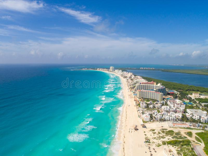 Cancun beach aerial panoramic drone shot. Panoramic Aerial drone shot in playa delfines beach in cancun royalty free stock photos