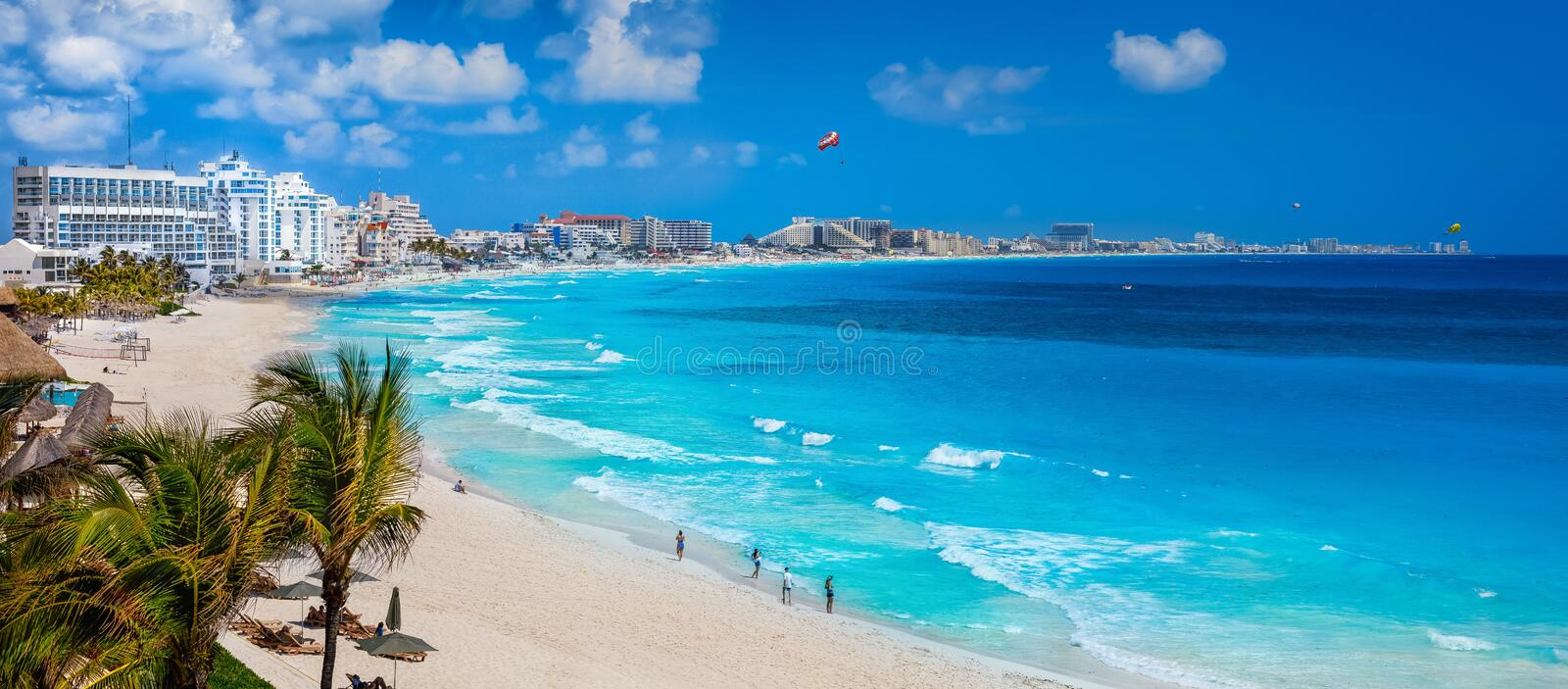 Cancun beach during the day. Cancun and the beach in the daytime with a drone