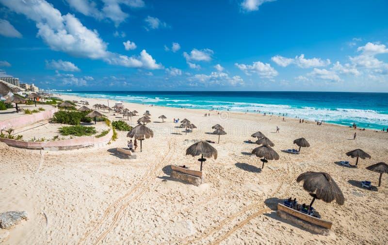 Cancun beach panorama, Mexico. Beautiful Cancun beach panorama, Mexico stock photos