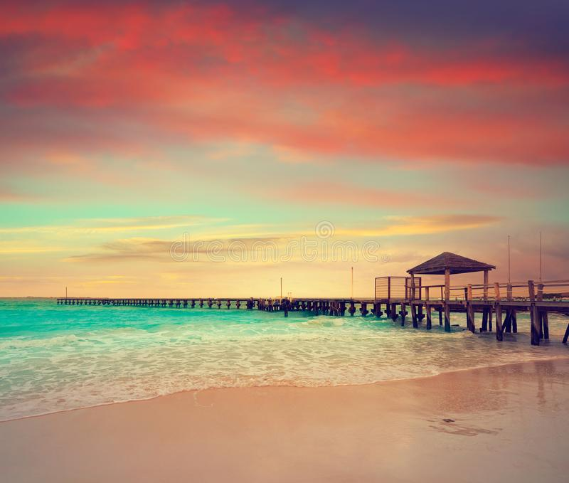 Cancun Caracol beach sunset in Mexico stock images