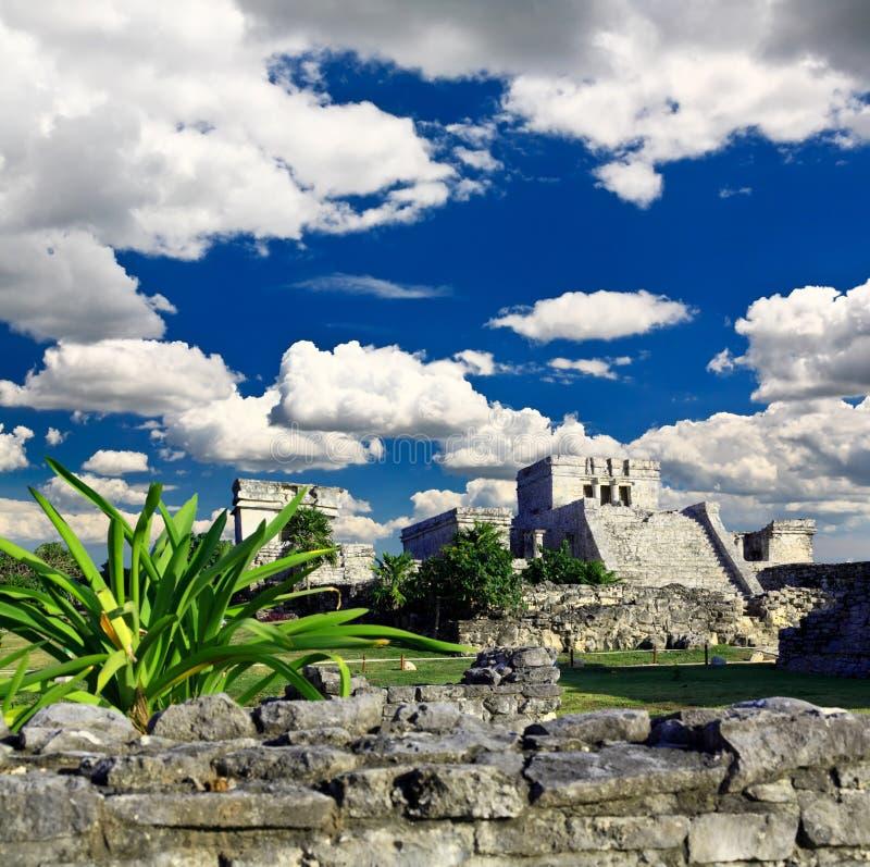 cancun maya nära fördärvar tulumvärlden arkivfoto