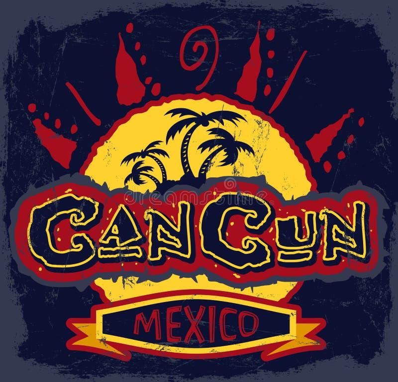 Cancun Meksyk - rocznika wektoru odznaka ilustracja wektor