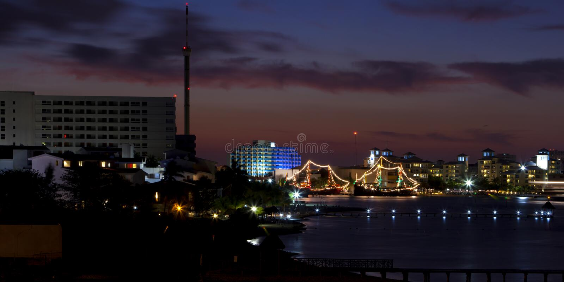 Cancun, Messico - notte fotografia stock libera da diritti