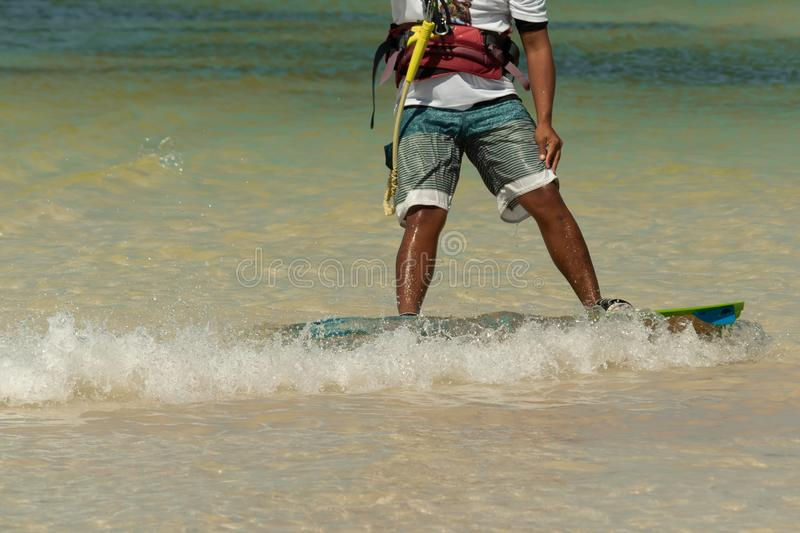 CANCUN, MEXICO - 02/18/2018: Adrenalin Kitesurf. Adventure sport. S Competition, Freestyle jumping at Mexican Caribbean stock photos