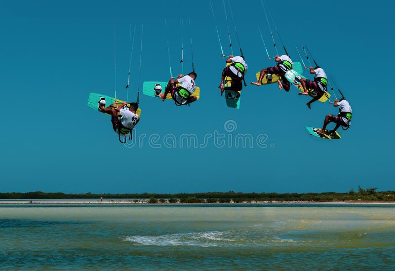 CANCUN, MEXICO - 02/18/2018: Adrenalin Kitesurf. Adventure sports Competition, Freestyle jumping at Mexican Caribbean. Adrenalin kitesurf on a sunny day stock images