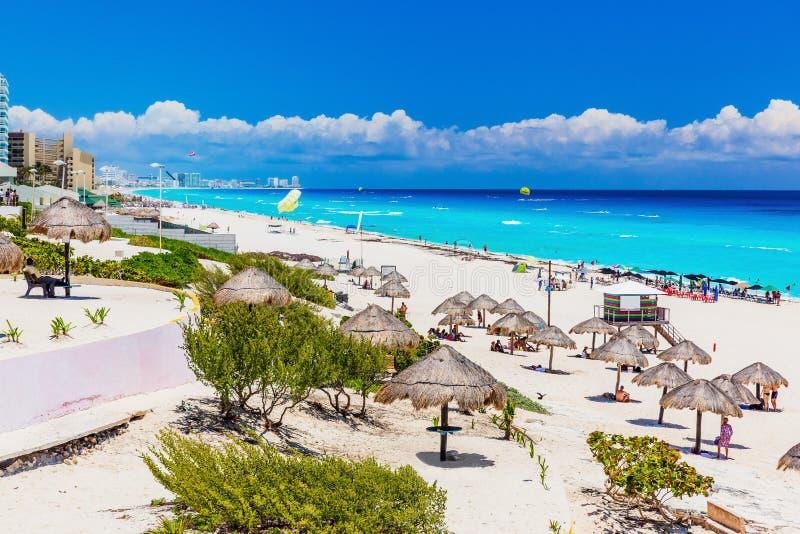 Cancun, Mexico. Dolphin Beach Playa Delfines. Beach on Riviera Maya royalty free stock photography