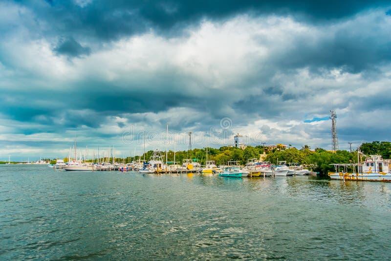 CANCUN, MEXICO - JANUARI 10, 2018: Openluchtmening van vele die boten op een rij in Isla Mujeres-eiland in de Caraïben worden gev royalty-vrije stock foto