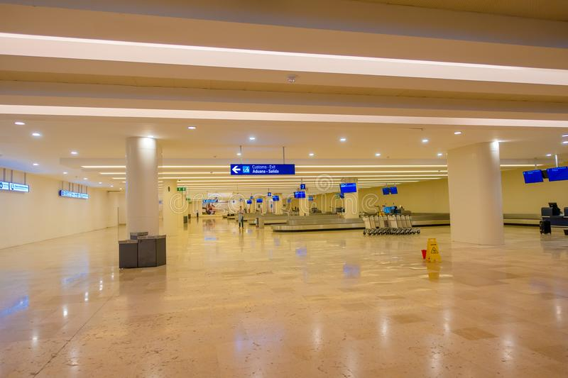 CANCUN, MEXICO - JANUARY 10, 2018: Indoor view of the luggage area empty inside of the Cancun International Airport stock images
