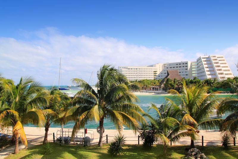 Cancun Mexico Lagoon and Caribbean sea stock image