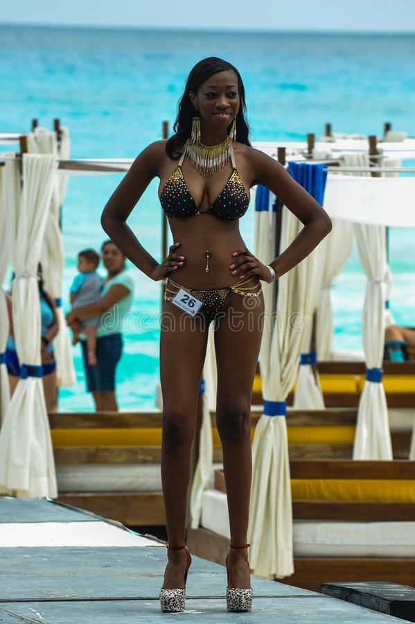 CANCUN, MEXICO - MAY 03: Model walking runway during semi-finals IBMS 2014 stock photos