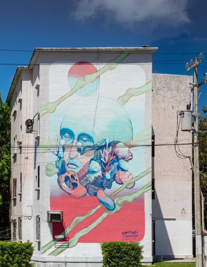 Cancun, Mexique ; 09 14 2018 Art urbain image libre de droits