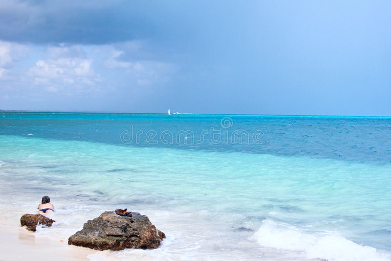Cancun ocean. Woman bathing in cancun beach ocean stock images