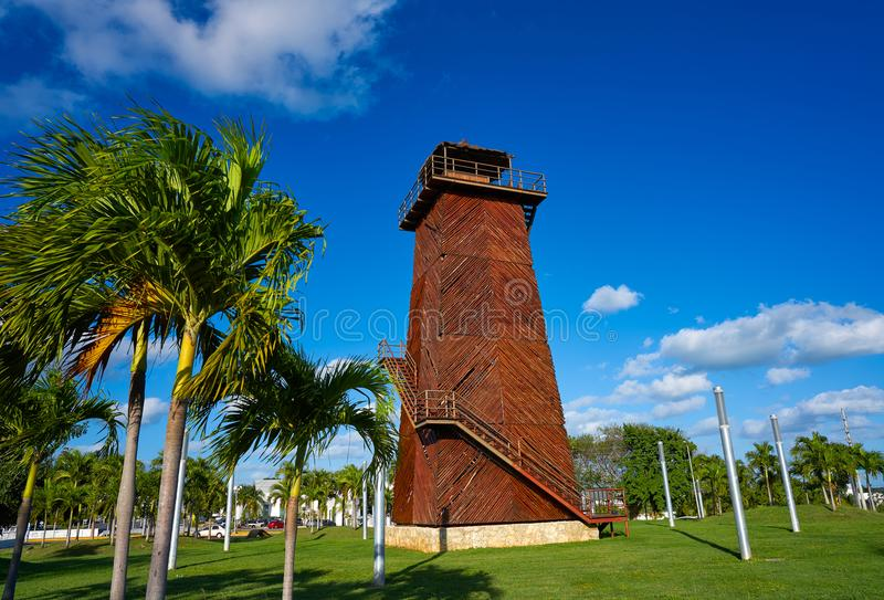 Cancun old airport control tower Mexico. Cancun old airport control tower in wood at Mexico stock photography