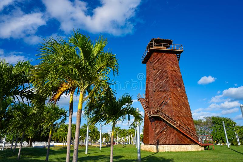 Cancun old airport control tower Mexico. Cancun old airport control tower in wood at Mexico royalty free stock images