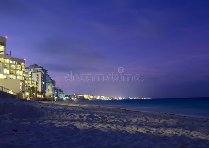 Cancun plażowa noc obrazy stock