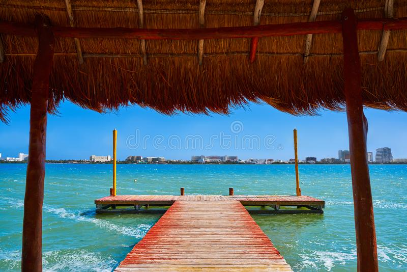 Cancun Pok-Ta-Pok area in Hotel Zone. Cancun Pok-Ta-Pok pier in Hotel Zone at Nichupte Lagoon of Mexico royalty free stock photo