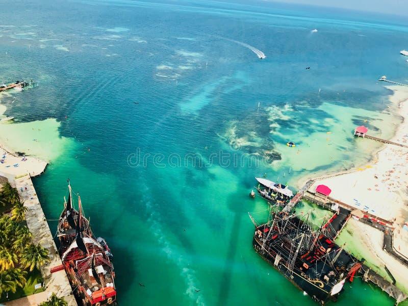 Cancun Quintana Roo Mexico landskap från det Xcaret tornet royaltyfri foto