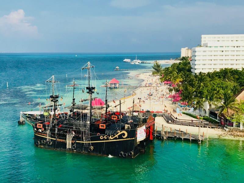 Cancun Quintana Roo Mexico landskap från det Xcaret tornet arkivfoto