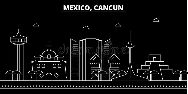 Cancun-Schattenbildskyline Mexiko- - Cancun-Vektorstadt, mexikanische lineare Architektur, Gebäude Cancun-Reise stock abbildung
