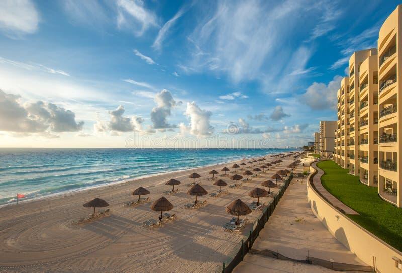 Cancun strandpanorama, Mexico royaltyfri bild