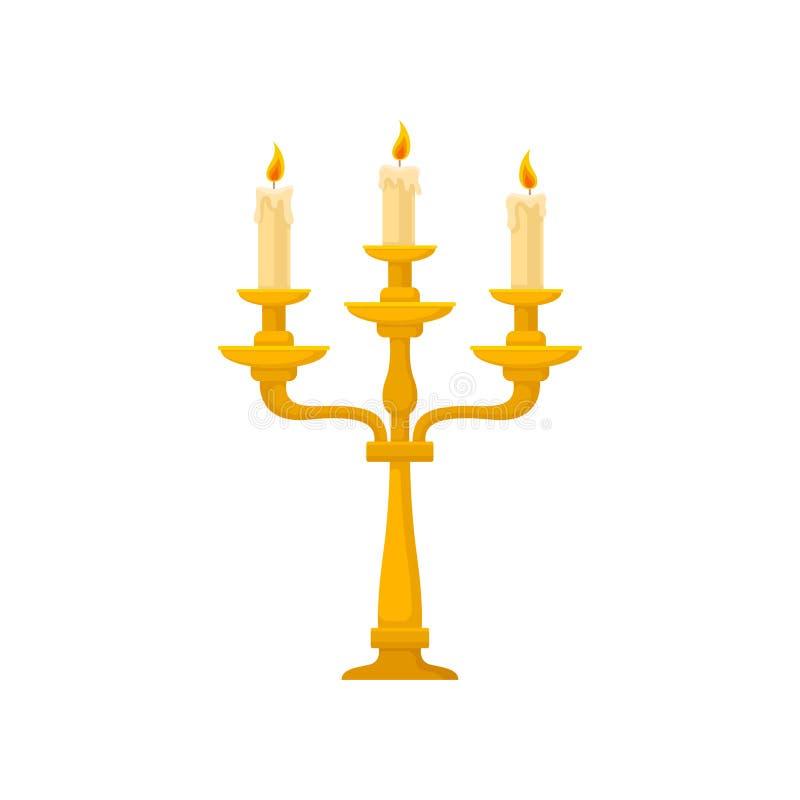 Candélabre avec trois bougies brûlantes avec de la cire de fonte, illustration d'or de vecteur de chandelier de cru sur un blanc illustration libre de droits