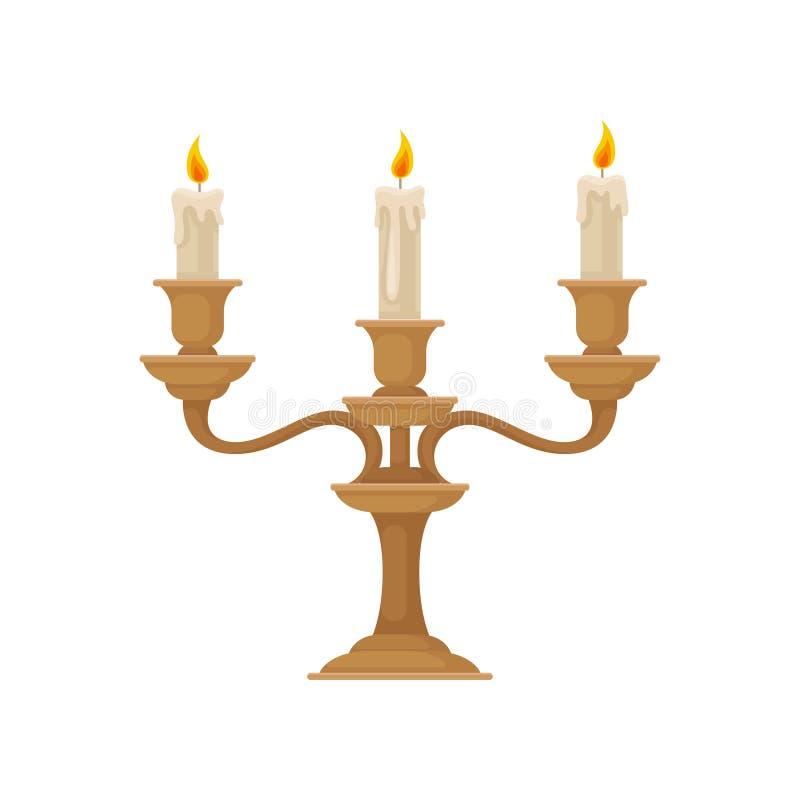 Candélabre avec trois bougies brûlantes avec de la cire de fonte, illustration en bronze de vecteur de chandelier de cru illustration stock