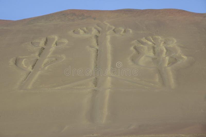 Candélabre en parc national de Paracas, Pérou photos libres de droits