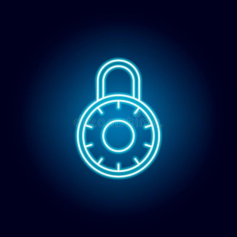 candado, aislamiento, icono del esquema de la seguridad en el estilo de neón elementos de la línea icono del ejemplo de la educac libre illustration