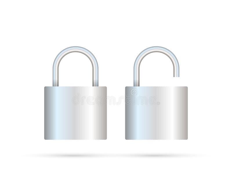 Candado bloqueado y desbloqueado realista Concepto de la seguridad Cerradura del metal para la seguridad y la privacidad ilustración del vector