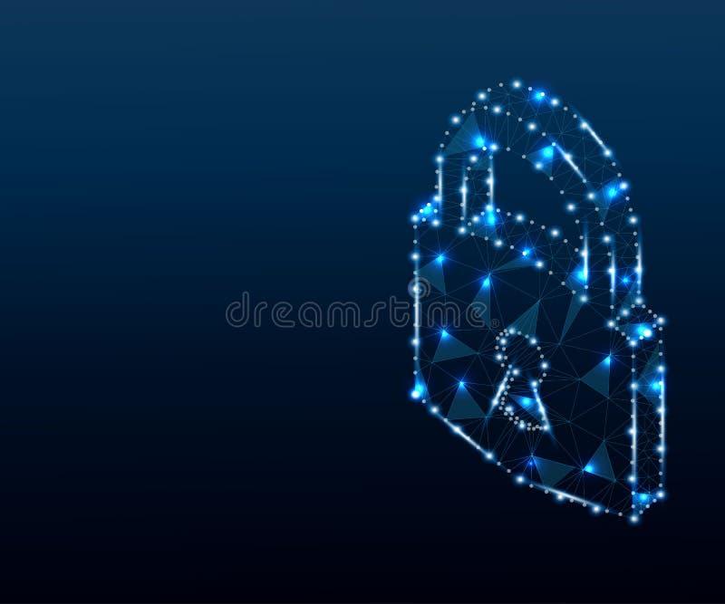 Candado, cerradura, 3D, polígono, azul 2 ilustración del vector