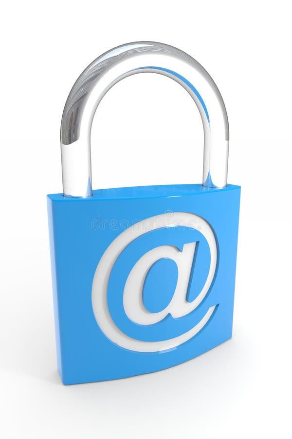 Candado con símbolo del EMAIL. Seguridad del Internet ilustración del vector