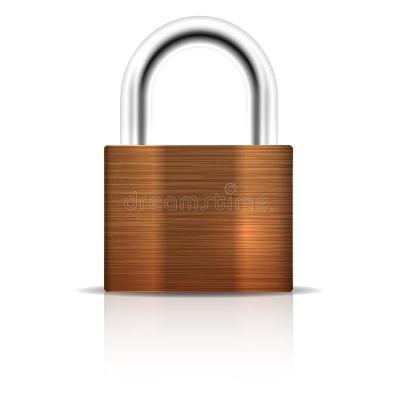 Candado metálico. Icono cerrado de la seguridad de la cerradura stock de ilustración