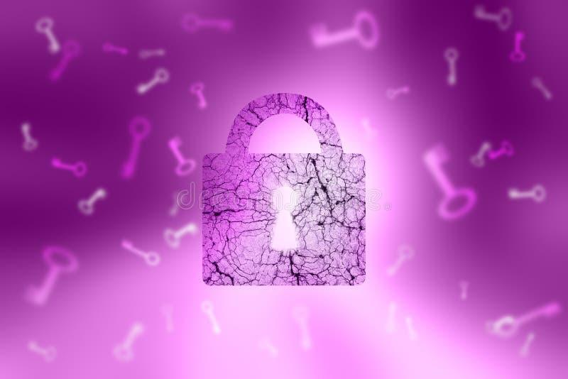 Candado texturizado envejecido bloqueado y llaves en backgro púrpura abstracto libre illustration