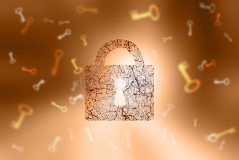 Candado texturizado envejecido bloqueado y llaves en backgroun abstracto del oro ilustración del vector