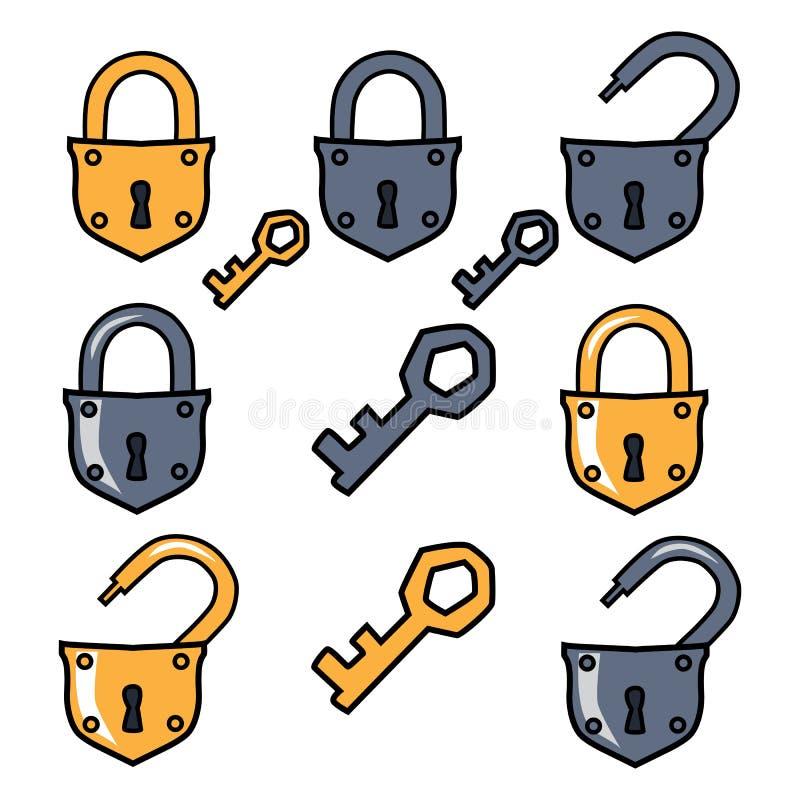 Candado viejo y claves Candado de las opciones stock de ilustración