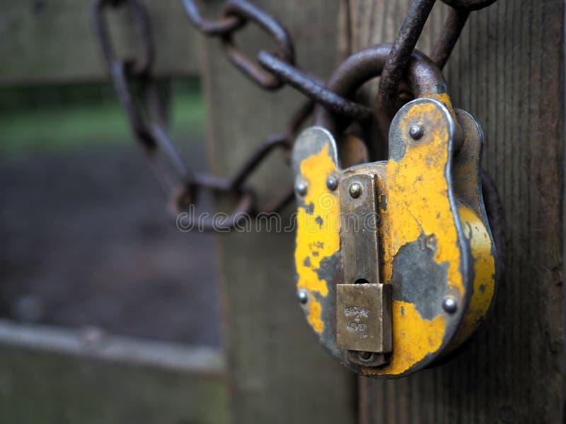 Candado y cadena amarillos fotografía de archivo