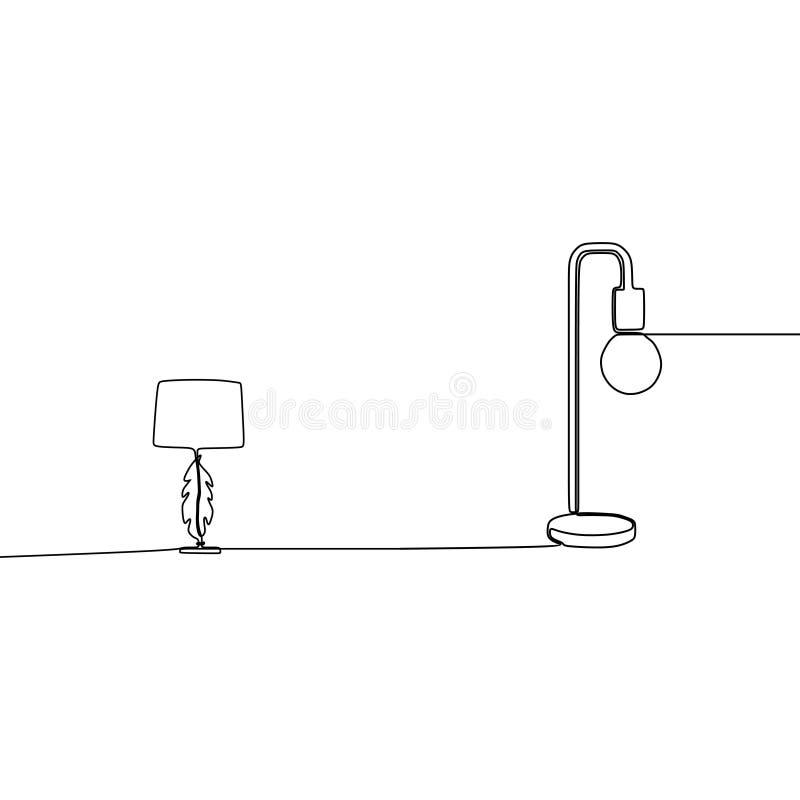 candeeiro de mesa moderno e linha redonda silhueta da lâmpada uma do ícone da luz da lâmpada de assoalho para a mobília interna d ilustração do vetor