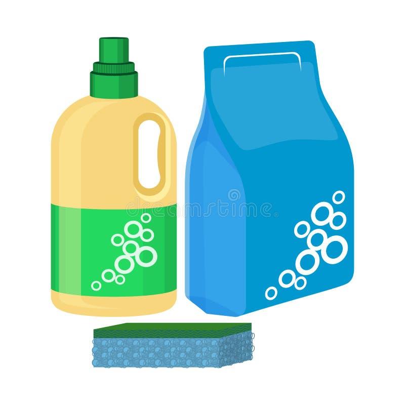 Candeggi la bottiglia con la spugna, il pacchetto del detersivo, vettore detergente illustrazione vettoriale