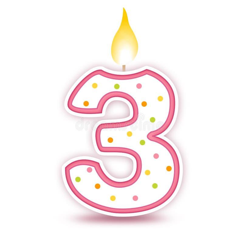 Candela di compleanno - 3 illustrazione di stock