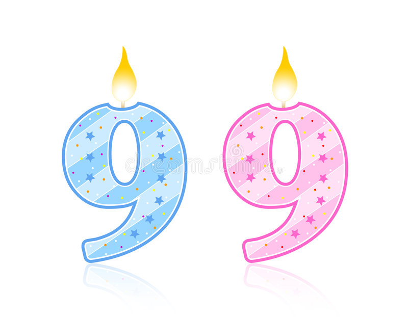 Candela di compleanno - 9 illustrazione di stock